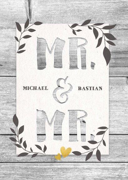 Glückwunschkarte Hochzeit Mr. & Mr. Holzlook 2