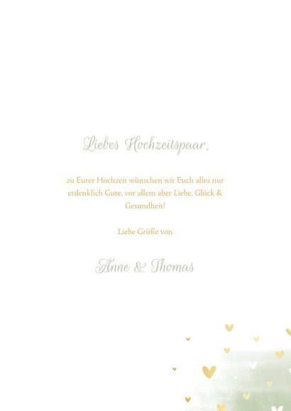 Glückwunschkarte Hochzeit Tauben goldene Herzen 3