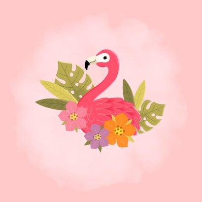 Glückwunschkarte Kommunion Flamingo & Blumen 2
