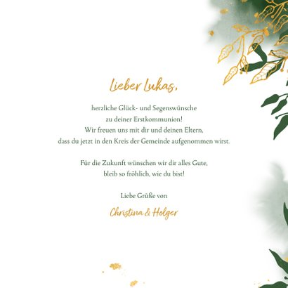 Glückwunschkarte Kommunion grün botanisch 3