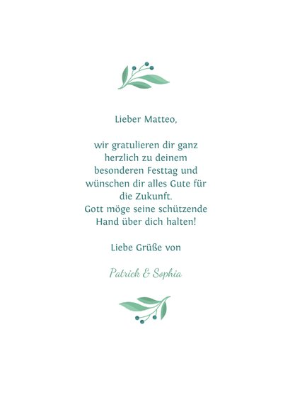 Glückwunschkarte Kommunion grüne Taube aus Zweigen 3