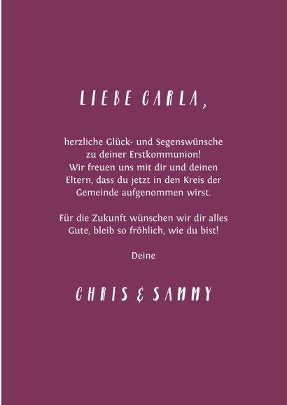 Glückwunschkarte Kommunion Kreuz pink 3