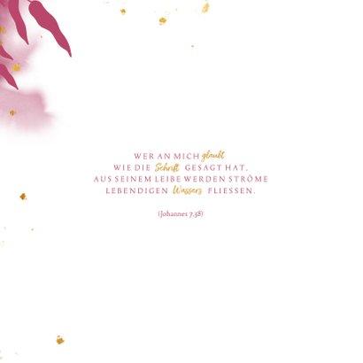 Glückwunschkarte Kommunion pink botanisch 2