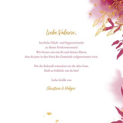 Glückwunschkarte Kommunion pink botanisch 3