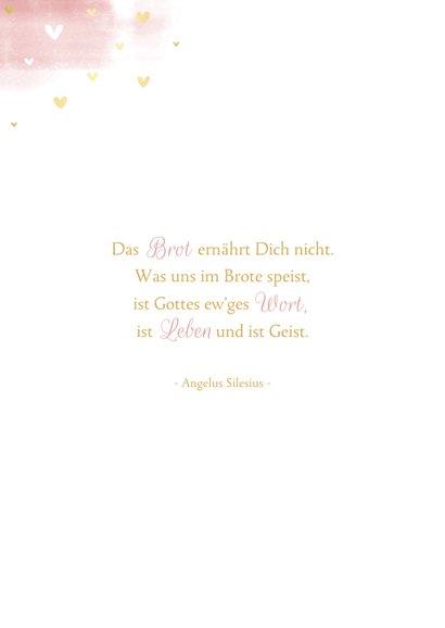 Glückwunschkarte Kommunion Taube rosa Aquarell 2