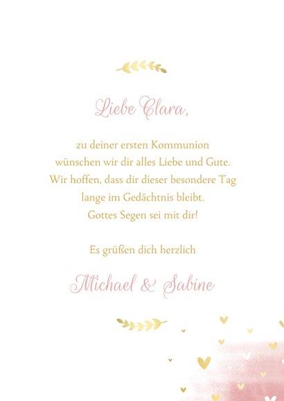 Glückwunschkarte Kommunion Taube rosa Aquarell 3
