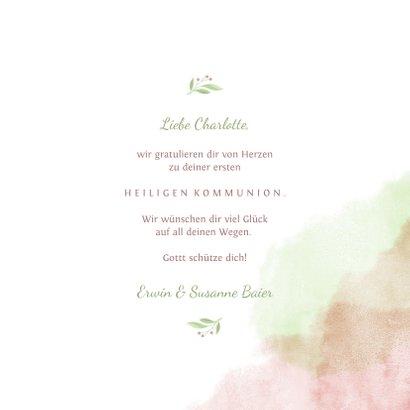 Glückwunschkarte Kommunion Taube rosa & grün 3