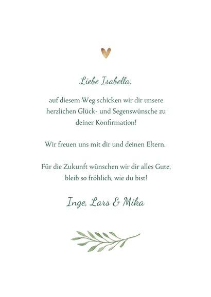 Glückwunschkarte Konfirmation Kreuz botanisch 3