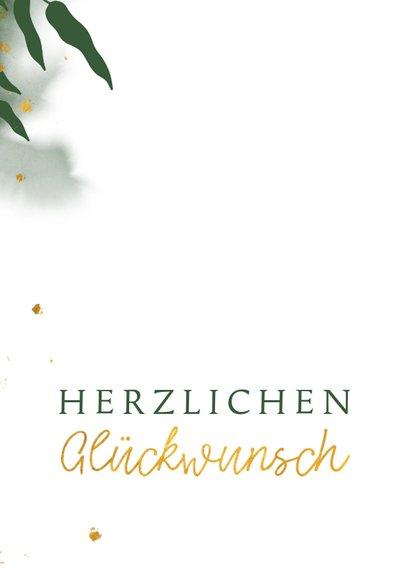 Glückwunschkarte mit Wasserfarbe und Blättern 2