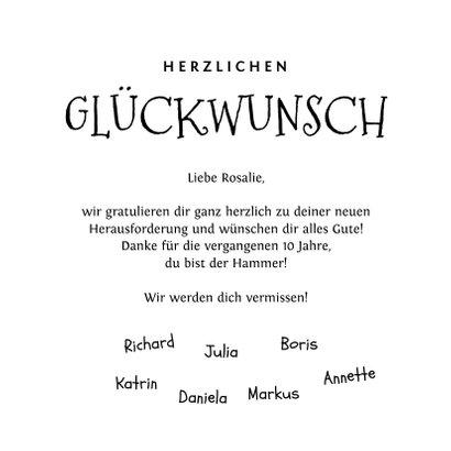 Glückwunschkarte Neuer Job rosa Scribbles 3