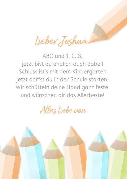 Glückwunschkarte orange Schulanfang Foto & Buntstifte 3