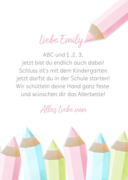 Glückwunschkarte rosa Schulanfang Foto & Buntstifte 3