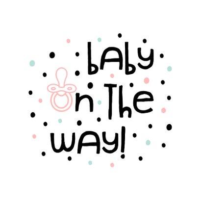 Glückwunschkarte Schwangerschaft baby on the way Punkte 2