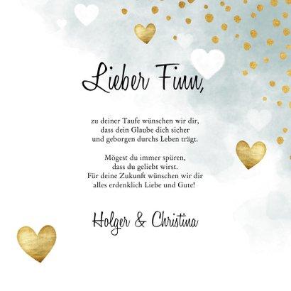 Glückwunschkarte Taufe Herzen blau 3