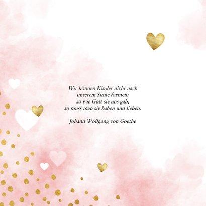 Glückwunschkarte Taufe Herzen rosa 2