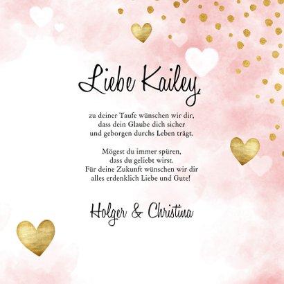 Glückwunschkarte Taufe Herzen rosa 3