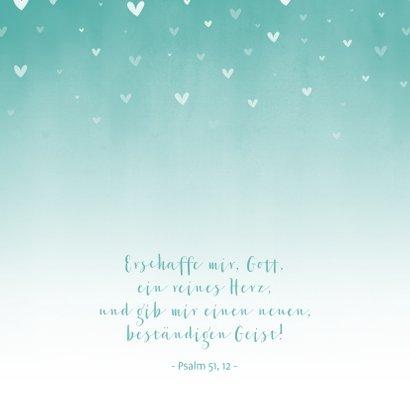 Glückwunschkarte Taufe Herzen türkis 2