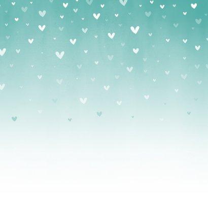 Glückwunschkarte Taufe Herzen türkis Rückseite