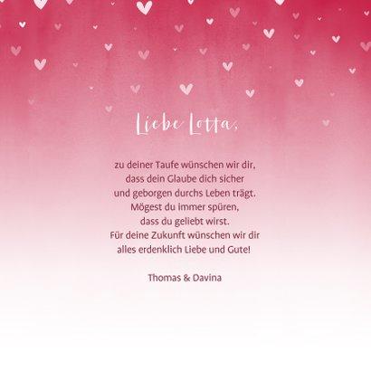 Glückwunschkarte Taufe rosa Herzen 3