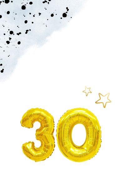 Glückwunschkarte zum 30. Geburtstag blau mit Zahlenballon 2