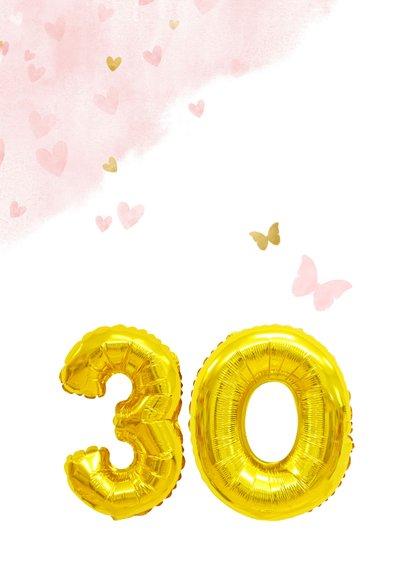 Glückwunschkarte zum 30. Geburtstag rosa mit Zahlenballon 2