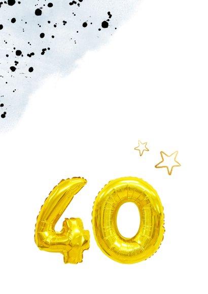 Glückwunschkarte zum 40. Geburtstag blau mit Zahlenballon 2