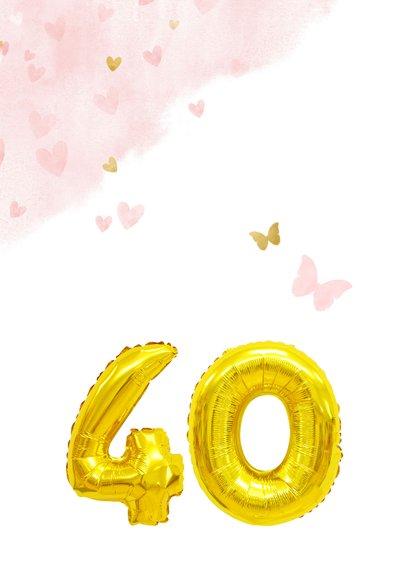Glückwunschkarte zum 40. Geburtstag rosa mit Zahlenballon 2