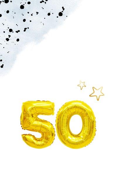 Glückwunschkarte zum 50. Geburtstag blau mit Zahlenballon 2