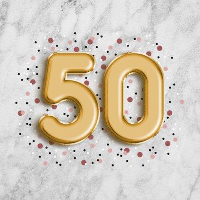 Glückwunschkarte zum 50. Geburtstag Marmor & goldene 50 2