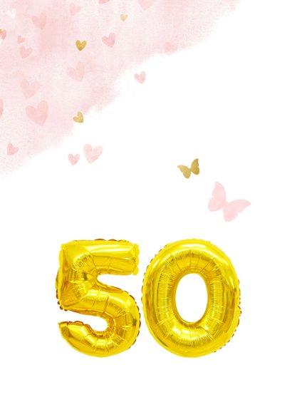 Glückwunschkarte zum 50. Geburtstag rosa mit Zahlenballon 2