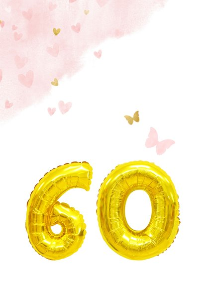Glückwunschkarte zum 60. Geburtstag rosa mit Zahlenballon 2