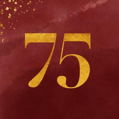 Glückwunschkarte zum 75. Geburtstag Goldzahl 2
