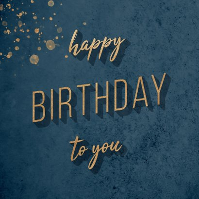 "Glückwunschkarte zum Geburtstag blau ""Happy Birthday"" 2"