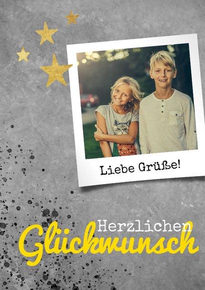 Glückwunschkarte zum Geburtstag grau mit goldenen Sternen 2