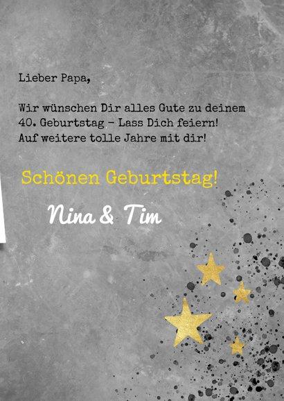 Glückwunschkarte zum Geburtstag grau mit goldenen Sternen 3