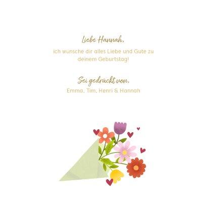 Glückwunschkarte zum Geburtstag mit Blumenstrauß 3