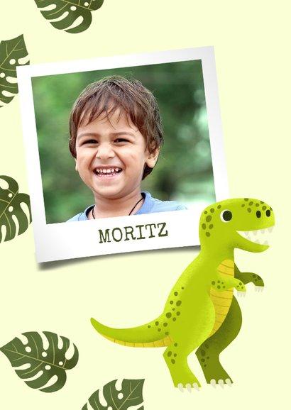 Glückwunschkarte zum Geburtstag mit Dinosaurier und Foto 2
