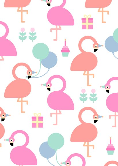 Glückwunschkarte zum Geburtstag mit Flamingos & Luftballons 2