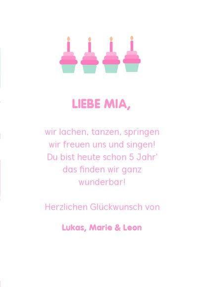 Glückwunschkarte zum Geburtstag mit Flamingos & Luftballons 3