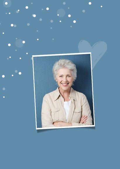 Glückwunschkarte zum Geburtstag mit Foto Konfetti blau 2