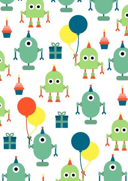 Glückwunschkarte zum Geburtstag mit Roboter & Ballons 2