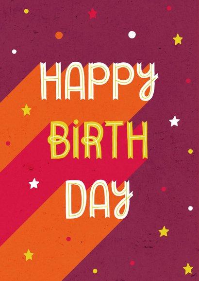 Glückwunschkarte zum Geburtstag retro mit Sternen 2
