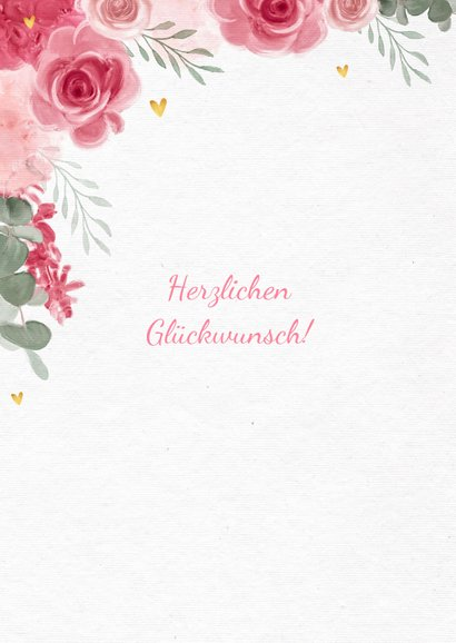 Glückwunschkarte zum Geburtstag rosa Rosen und Foto 2