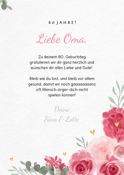 Glückwunschkarte zum Geburtstag rosa Rosen und Foto 3