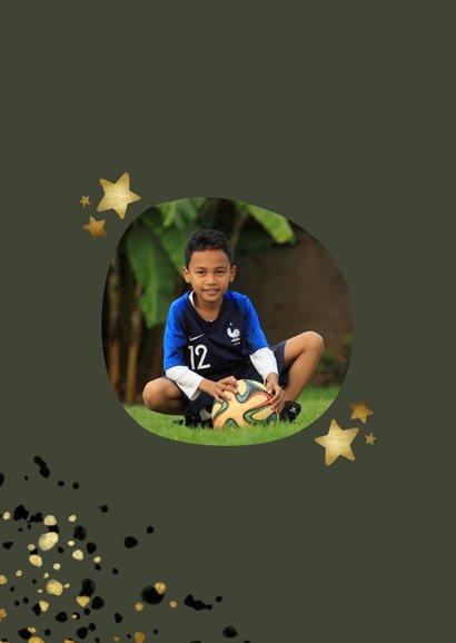 Glückwunschkarte zum Geburtstag rundes Foto und Sterne 2