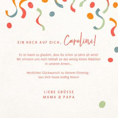 Glückwunschkarte zum Geburtstag Ziffer und Konfetti 3