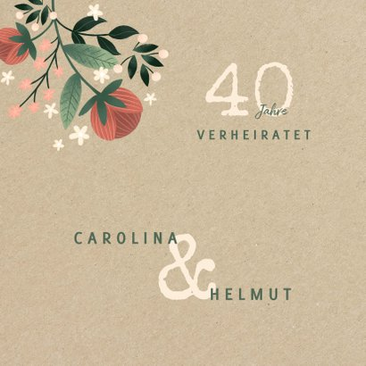 Glückwunschkarte zum Jubiläum mit Blumen & Pflanzen 2