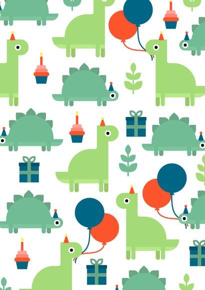 Glückwunschkarte zum Kindergeburtstag Dinos mit Ballon 2