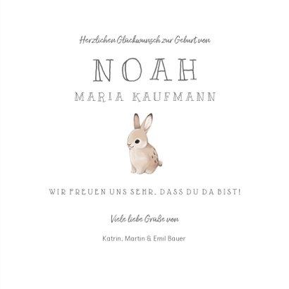 Glückwunschkarte zur Geburt Baby Kaninchen 3