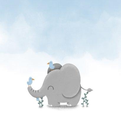 Glückwunschkarte zur Geburt blau mit Elefant und Vögeln 2
